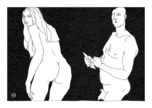 Figurative Digital Art - Model And Artist 10 by Leonid Petrushin