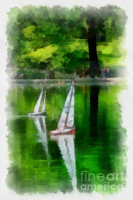 Boat Digital Art - Model Boat Basin Central Park by Amy Cicconi