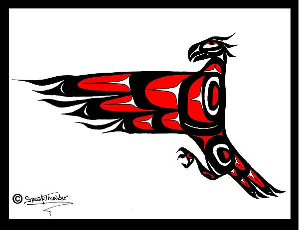 Eagle Drawing - Mohawk Eagle Red by Speakthunder Berry