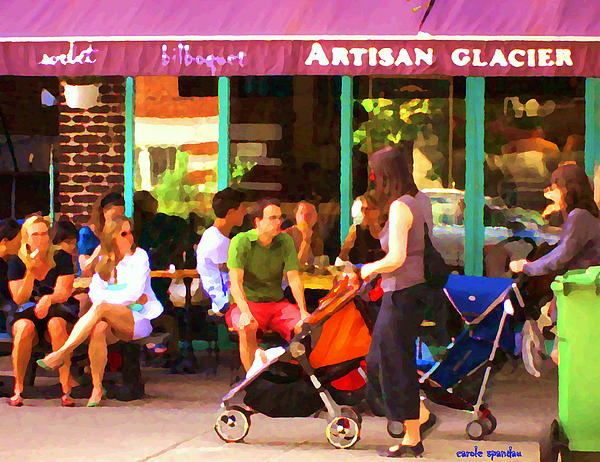 Montreal Painting - Montreal Art Work Bilboquet Cafe Scene Moms And Baby Carriages  In  Outremont By Carole Spandau by Carole Spandau