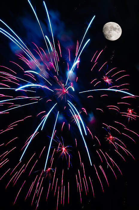 Abstract Photograph - Moon Over Red White And Blue Starburst- July Fourth - Fireworks by Penny Lisowski