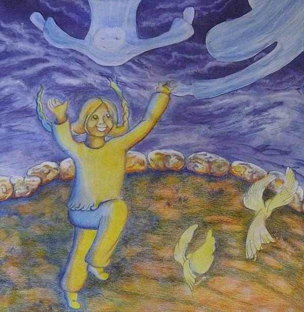 Moonchild Painting - Moonchild - In Paradise by Jacquelyn Roberts