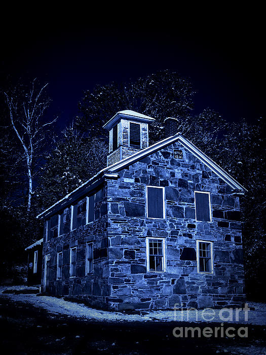 Night Photograph - Moonlight On The Old Stone Building  by Edward Fielding