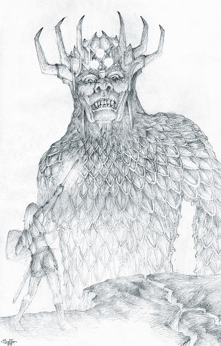 Morgoth Drawing - Morgoth And Fingolfin by Curtiss Shaffer