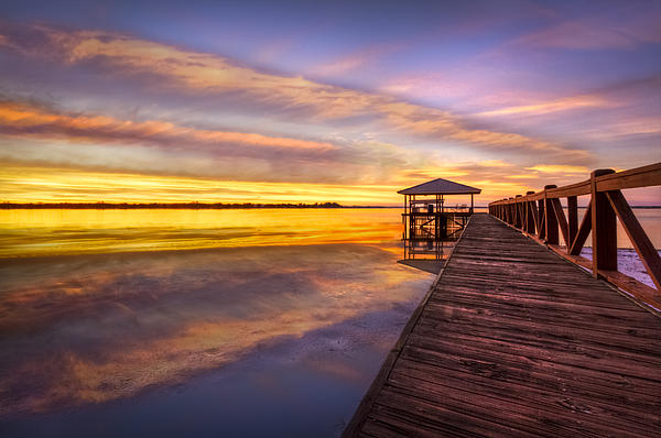 Clouds Photograph - Morning Dock by Debra and Dave Vanderlaan
