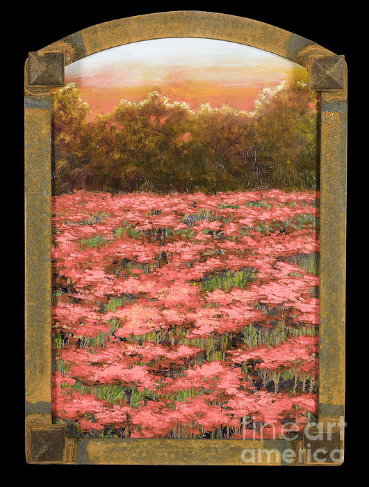 Poppy Painting - Morning Poppy Fields With Gold Leaf By Vic Mastis by Vic  Mastis