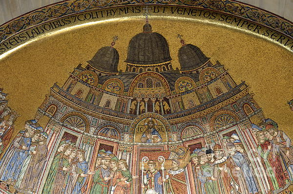 Arch Photograph - Mosaic Detail On San Marco Basilica by Sami Sarkis