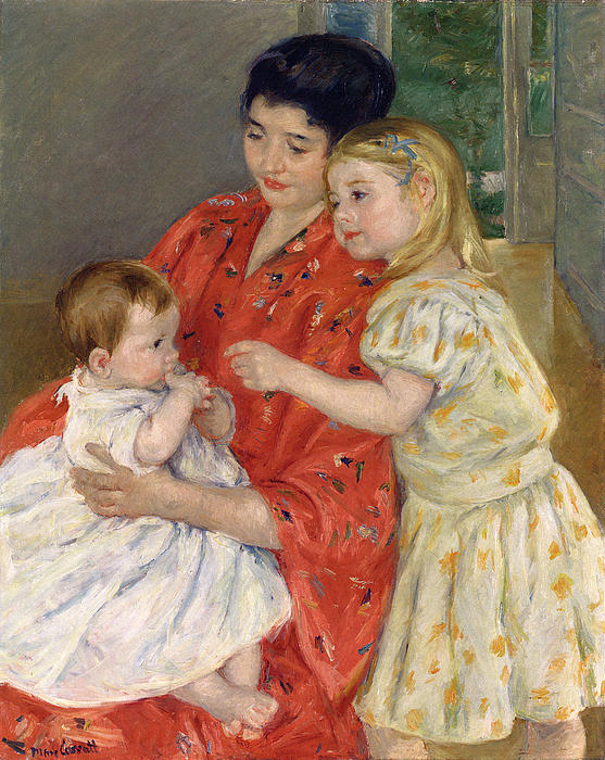 Marry Cassatt Digital Art - Mother And Sara Admiring The Baby by Marry Cassatt