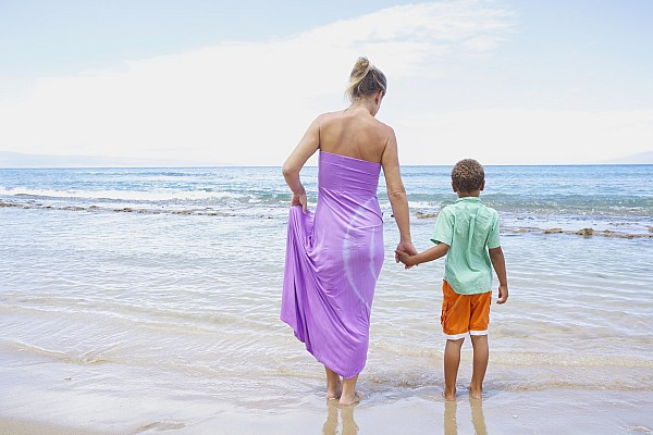 Beach Photograph - Mother And Son On Beach by Kicka Witte