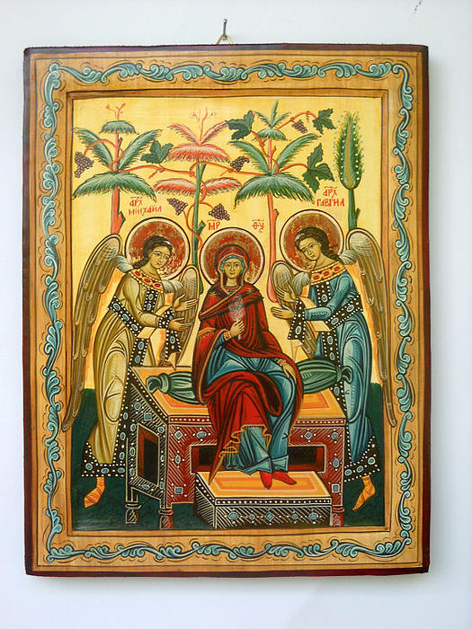 Hand-painted Icons Painting - Mother Of God In Heaven With The Archangels Hand Painted Holy Orthodox Wooden Icon by Denise Clemenco