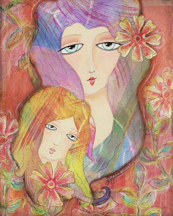 Mother Daughter Painting - Mothers Love by Joann Loftus