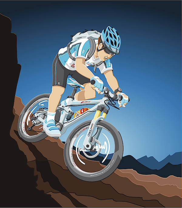 Mountain Bike Action Drawing by FrankRamspott