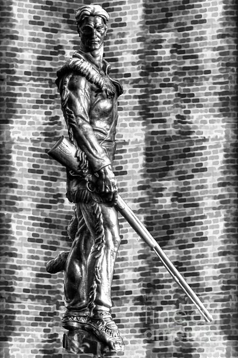 Wvu Photograph - Mountaineer Statue Bw Brick Background by Dan Friend