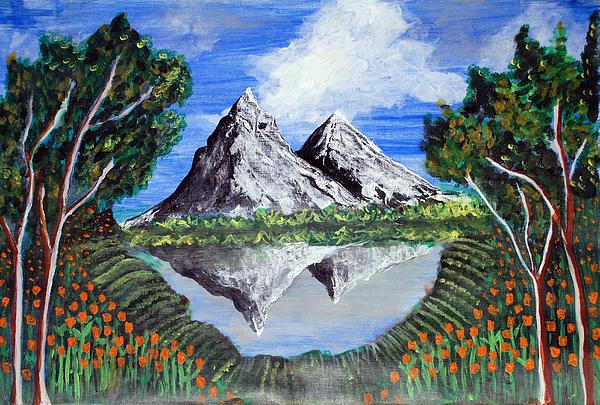 Mountains Painting - Mountains On A Lake by Saranya Haridasan