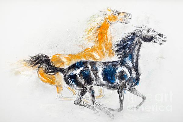 Mustang Pastel - Mustangs by Kurt Tessmann