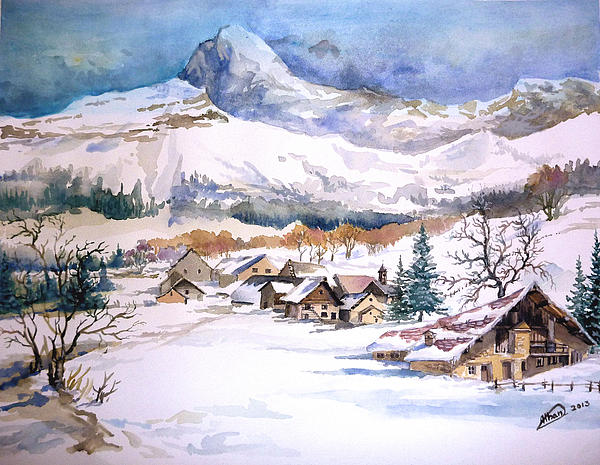 Montains Painting - My First Snow Scene by Alban Dizdari