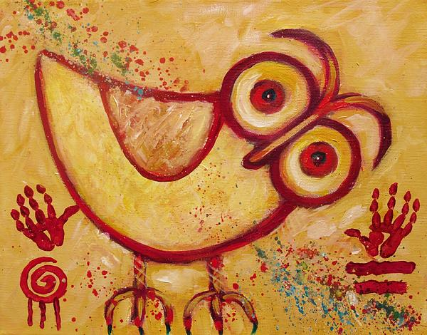Owl Painting - My Red Primitive Owl by Carol Suzanne Niebuhr