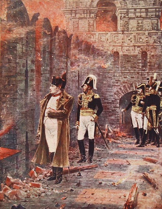 Soldier Drawing - Napoleon Watching The Fire Of Moscow by Nikolai Stepanovich Vereshchagin