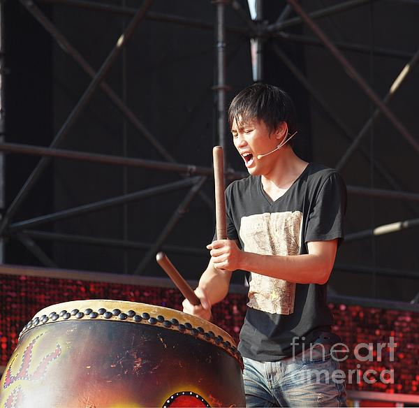 Drum Photograph - Native Drummer Performs In Taiwan by Yali Shi