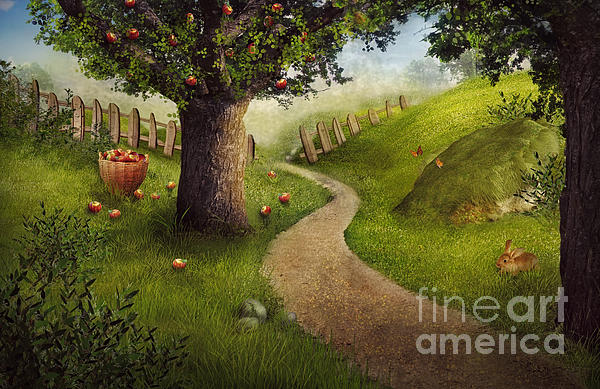 Autumn Digital Art - Nature Design - Apple Orchard by Mythja  Photography