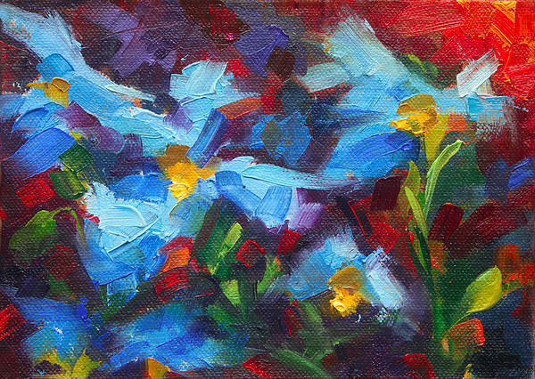 Himalayan Painting - Natures Palette - Himalayan Blue Poppy Oil Painting Meconopsis Betonicifoliae by Talya Johnson