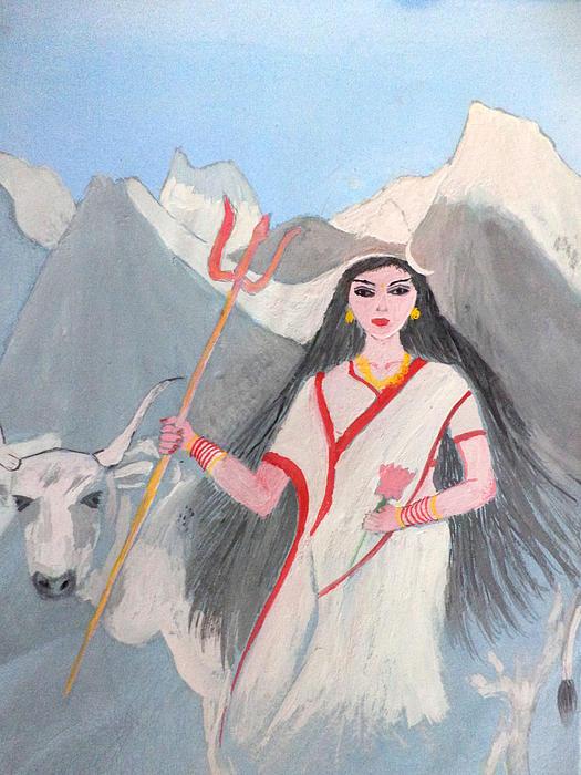 Goddess Painting - Nava Durga Shailputri by Pratyasha Nithin