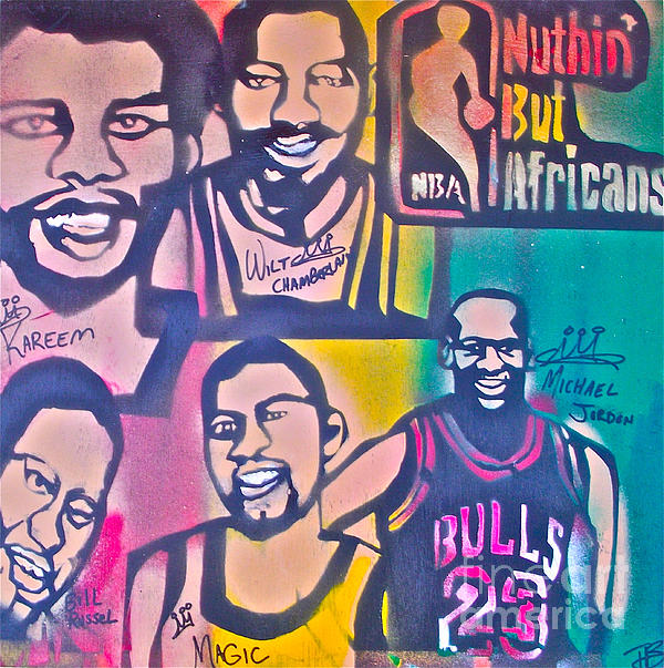 Kareem Abdul-jabbar Painting - Nba Nuthin But Africans by Tony B Conscious