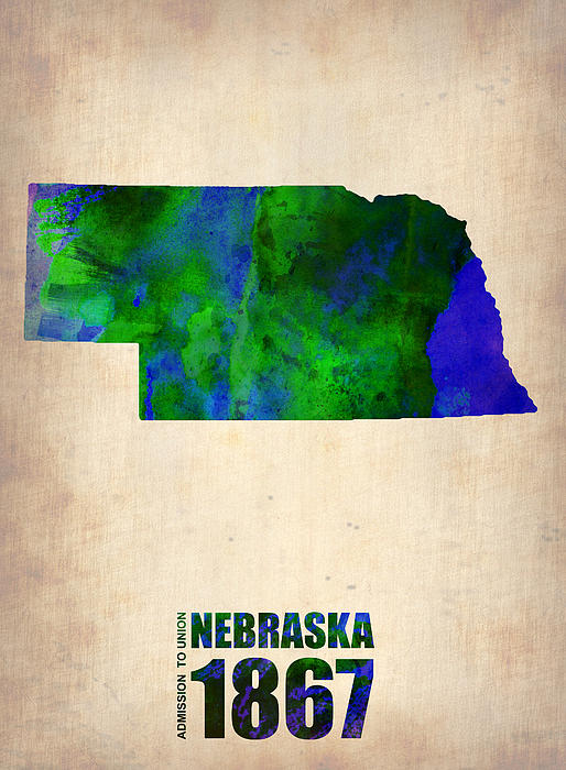 Nebraska Digital Art - Nebraska Watercolor Map by Naxart Studio