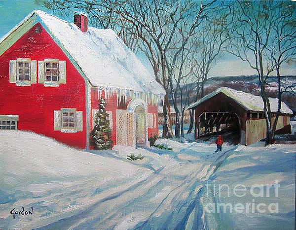 Winter Painting - New England Covered Bridge by Brett Gordon