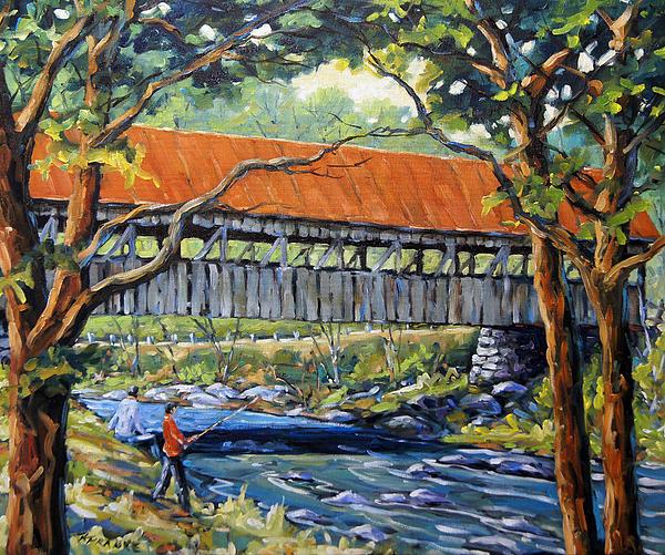 Landscape Painting - New England Covered Bridge By Prankearts by Richard T Pranke