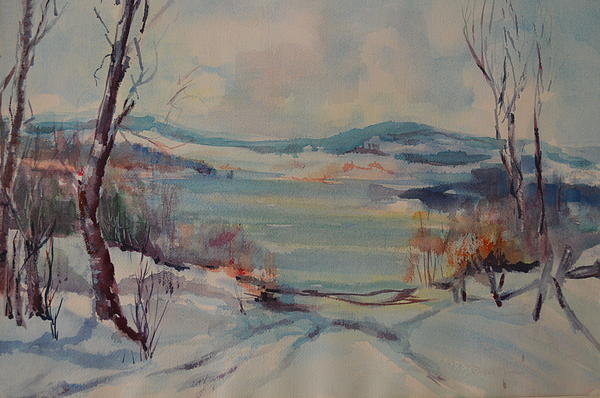 Snow Scene Painting - New England Winter by Dorothy Campbell Therrien