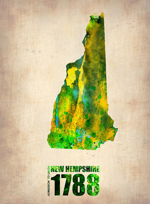 New Hampshire Painting - New Hampshire Watercolor Map by Naxart Studio