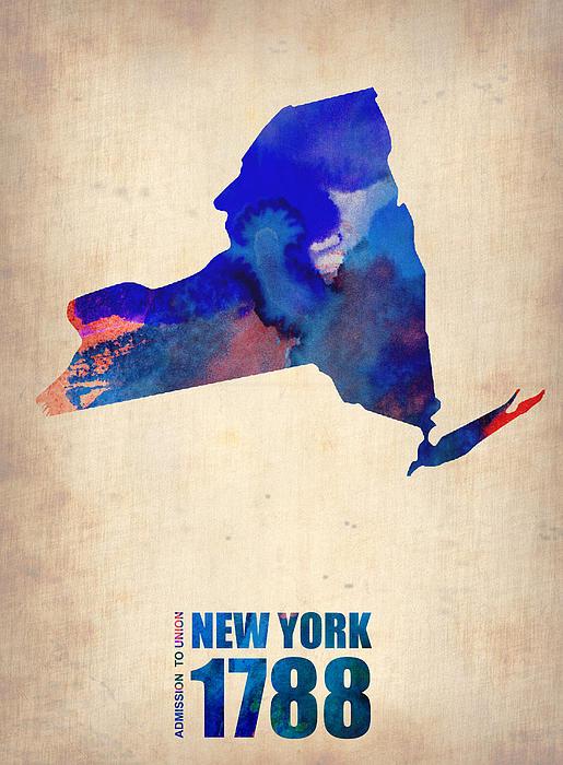 New York Digital Art - New York Watercolor Map by Naxart Studio