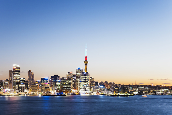 New Zealand, Auckland, Skyline With Sky Tower, Blue Hour Photograph by Westend61