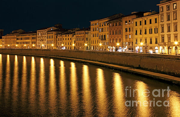 Town Photograph - Night View Of River Arno Bank In Pisa by Kiril Stanchev