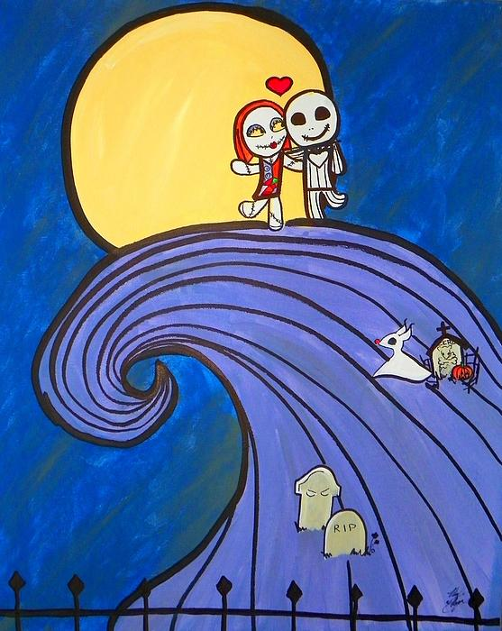 Nightmare Before Christmas Painting - Nightmare Before Christmas Hill Cute by Marisela Mungia