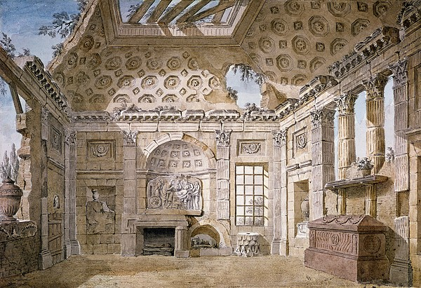 Neo-classical Drawing - Monastery Of St Trinita Del Monte by Charles Louis Clerisseau