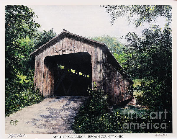 Covered Bridge Painting - North Pole Covered Bridge Brown County Ohio by Rita Miller