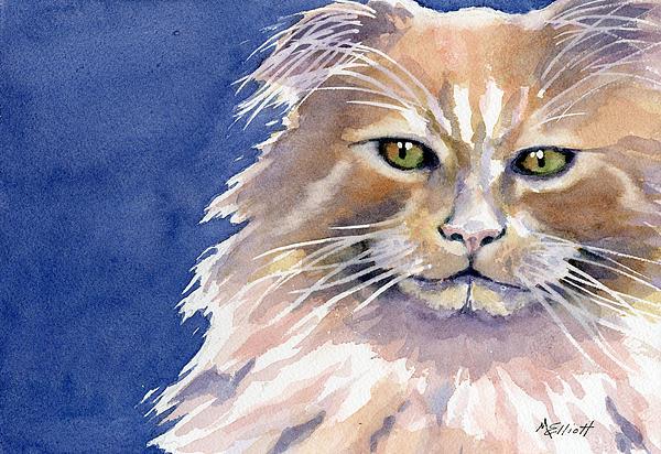 Cat Painting - Not Too Happy by Marsha Elliott