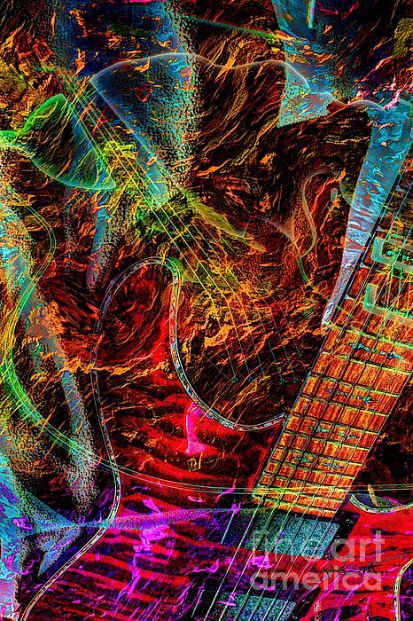 Acoustic Photograph - Notes On Fire Digital Guitar Art By Steven Langston by Steven Lebron Langston