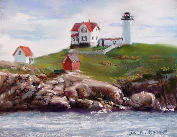 Lighthouse Painting - Nubble Lighthouse In Pastel by Jack Skinner