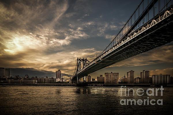 Nyc Photograph - Nyc - Manhatten Bridge - Hdr- Sun by Hannes Cmarits