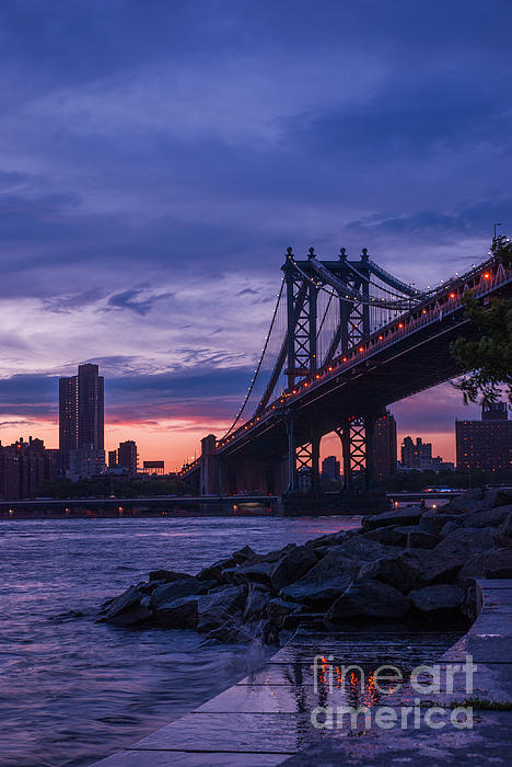 Nyc Photograph - Nyc - Manhatten Bridge At Night II by Hannes Cmarits