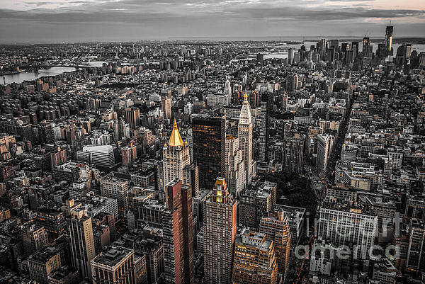 Nyc Photograph - Nycs Golden Tops by Hannes Cmarits