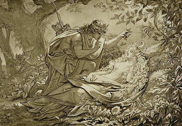 Print Drawing - Oberon And Titania by English School