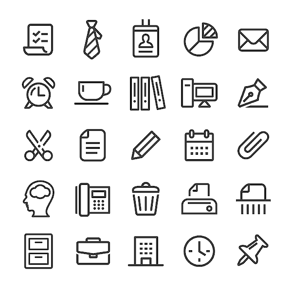 Office Icons - Smart Line Series Drawing by -victor-