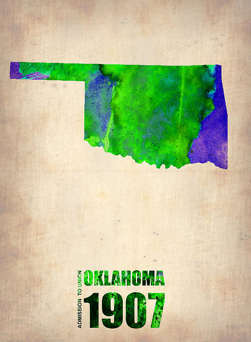 Oklahoma Painting - Oklahoma Watercolor Map by Naxart Studio