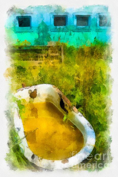 Abandoned Digital Art - Old Bathtub Near Painted Barn by Amy Cicconi