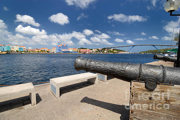 1779 Photograph - Old Cannon And Queen Juliana Bridge Curacao by Amy Cicconi