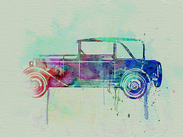 Vintage Car Painting - Old Car Watercolor by Naxart Studio